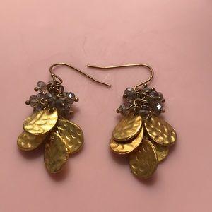 Anthropologie Gold Earrings w/ Gray Stones
